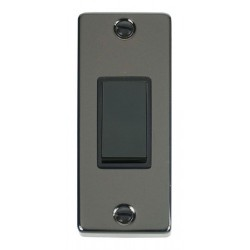 Click Deco Victorian Black Nickel Single Architrave Switch Kit with Black Insert, Black Rocker and Back Box