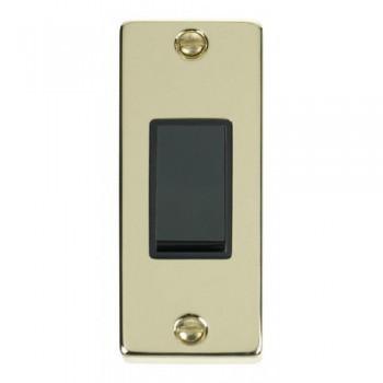 Click Deco Victorian Polished Brass Single Architrave Switch Kit with Black Insert, Black Rocker and Back Box