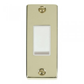 Click Deco Victorian Polished Brass Single Architrave Switch Kit with White Insert, White Rocker and Back Box