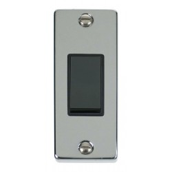 Click Deco Victorian Polished Chrome Single Architrave Switch Kit with Black Insert, Black Rocker and Back Box