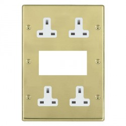 Hamilton Hartland Polished Brass Media Plate containing 2 Gang 13A Unswitched Socket, 2 Gang 13A Unswitched Socket, EURO4 aperture with White Insert