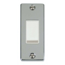 Click Deco Victorian Polished Chrome Single Architrave Switch Kit with White Insert, White Rocker and Back Box