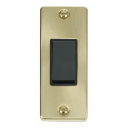 Click Deco Victorian Satin Brass Single Architrave Switch Kit with Black Insert, Black Rocker and Back Box