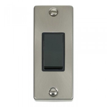Click Deco Victorian Satin Chrome Single Architrave Switch Kit with Black Insert, Black Rocker and Back Box