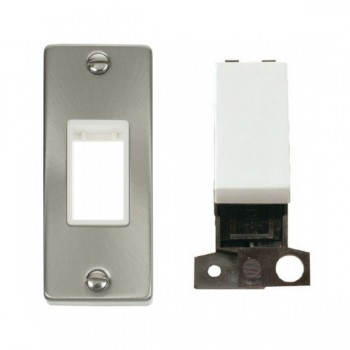 Click Deco Victorian Satin Chrome Single Architrave Switch Kit with White Insert, White Rocker and Back Box