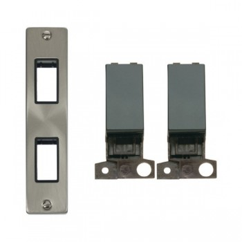 Click Deco Victorian Satin Chrome Double Architrave Switch Kit with Black Insert, Black Rocker and Back Box