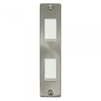 Click Deco Victorian Satin Chrome Double Architrave Switch Kit with White Insert, White Rocker and Back Box