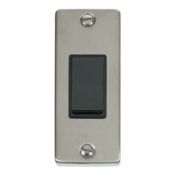 Click Deco Victorian Stainless Steel Single Architrave Switch Kit with Black Insert, Black Rocker and Back Box