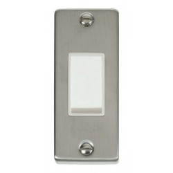Click Deco Victorian Stainless Steel Single Architrave Switch Kit with White Insert, White Rocker and Back Box