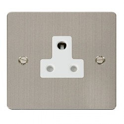 Click Define Stainless Steel Flat Plate Single 5A Round Pin Socket with White Inserts