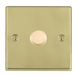 Hamilton Hartland Polished Brass Push On/Off Dimmer 1 Gang Multi-way 250W/VA Trailing Edge with Polished Brass Insert