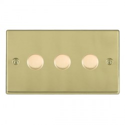 Hamilton Hartland Polished Brass Push On/Off Dimmer 3 Gang Multi-way 250W/VA Trailing Edge with Polished Brass Insert