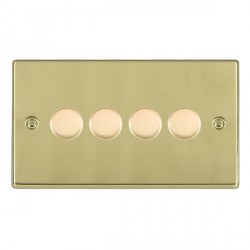 Hamilton Hartland Polished Brass Push On/Off Dimmer 4 Gang 2 way 400W with Polished Brass Insert