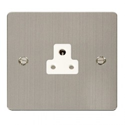 Click Define Stainless Steel Flat Plate Single 2A Round Pin Socket with White Inserts