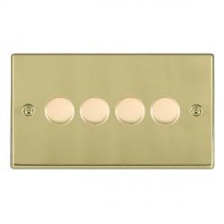 Hamilton Hartland Polished Brass Push On/Off Dimmer 4 Gang Multi-way 250W/VA Trailing Edge with Polished Brass Insert