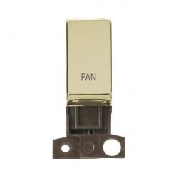 Click Minigrid MD018BRFN 13A Resistive 10AX DP Fan Switch Module Brass