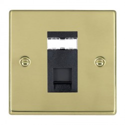 Hamilton Hartland Polished Brass 1 Gang RJ12 Outlet Unshielded with Black Insert