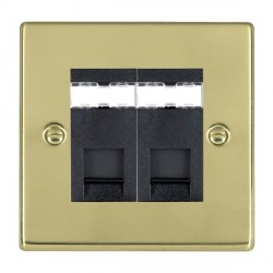 Hamilton Hartland Polished Brass 2 Gang RJ45 Outlet Cat 5e Unshielded with Black Insert