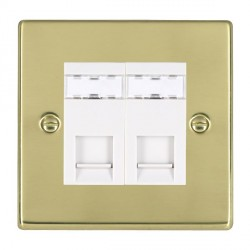 Hamilton Hartland Polished Brass 2 Gang RJ45 Outlet Cat 5e Unshielded with White Insert