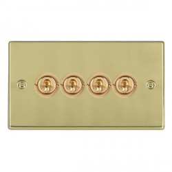 Hamilton Hartland Polished Brass 4 Gang 2 Way Dolly with Polished Brass Insert