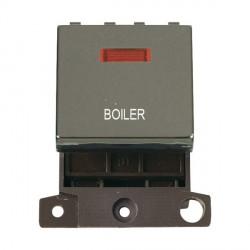 Click Minigrid MD023BNBL 20A DP Twin Width Boiler Switch Module with Neon Black Nickel