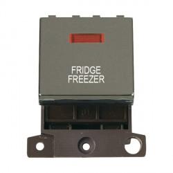Click Minigrid MD023BNFF 20A DP Twin Width Fridge Freezer Switch Module with Neon Black Nickel