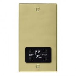 Hamilton Hartland Polished Brass Shaver Socket Dual Voltage with Black Insert