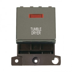 Click Minigrid MD023BNTD 20A DP Twin Width Tumble Dryer Switch Module with Neon Black Nickel