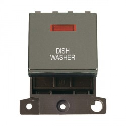 Click Minigrid MD023BNDW 20A DP Twin Width Dishwasher Switch Module with Neon Black Nickel