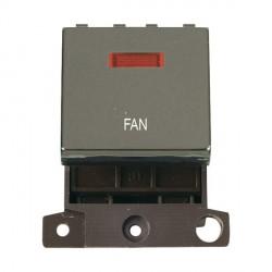 Click Minigrid MD023BNFN 20A DP Twin Width Fan Switch Module with Neon Black Nickel