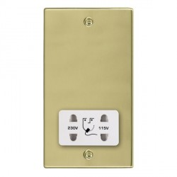 Hamilton Hartland Polished Brass Shaver Socket Dual Voltage with White Insert
