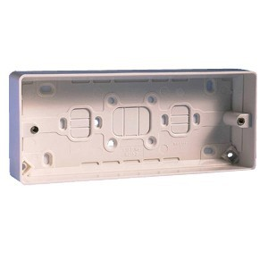 MK Electric 3 Gang 30mm White Moulded Surface Pattress Box