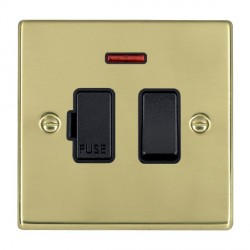 Hamilton Hartland Polished Brass 1 Gang 13A Fused Spur, Double Pole + Neon with Black Insert
