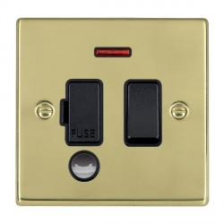 Hamilton Hartland Polished Brass 1 Gang 13A Fused Spur, Double Pole + Neon + Cable Outlet with Black Insert