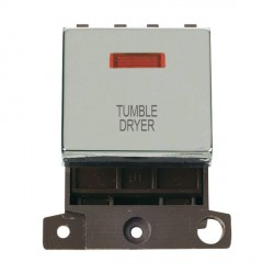 Click Minigrid MD023CHTD 20A DP Twin Width Tumble Dryer Switch Module with Neon Chrome