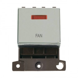 Click Minigrid MD023CHFN 20A DP Twin Width Fan Switch Module with Neon Chrome