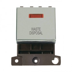 Click Minigrid MD023CHWD 20A DP Twin Width Waste Disposal Switch Module with Neon Chrome