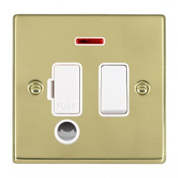 Hamilton Hartland Polished Brass 1 Gang 13A Fused Spur, Double Pole + Neon + Cable Outlet with White Insert