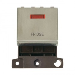 Click Minigrid MD023SSFD 20A DP Twin Width Fridge Switch Module with Neon Stainless Steel