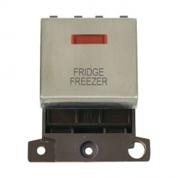 Click Minigrid MD023SSFF 20A DP Twin Width Fridge Freezer Switch Module with Neon Stainless Steel
