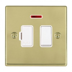 Hamilton Hartland Polished Brass 1 Gang 13A Fused Spur, Double Pole + Neon with White Insert