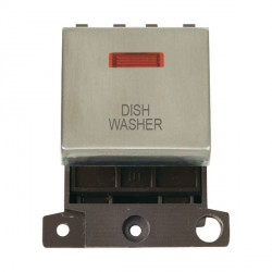 Click Minigrid MD023SSDW 20A DP Twin Width Dishwasher Switch Module with Neon Stainless Steel