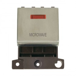 Click Minigrid MD023SSMW 20A DP Twin Width Microwave Switch Module with Neon Stainless Steel