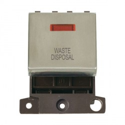 Click Minigrid MD023SSWD 20A DP Twin Width Waste Disposal Switch Module with Neon Stainless Steel