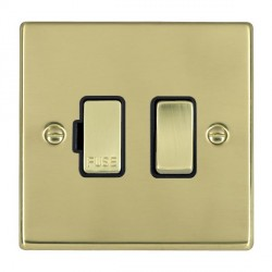 Hamilton Hartland Polished Brass 1 Gang 13A Fused Spur, Double Pole with Black Insert