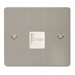 Click Define Stainless Steel Flat Plate Single Secondary Telephone Outlet with White Insert