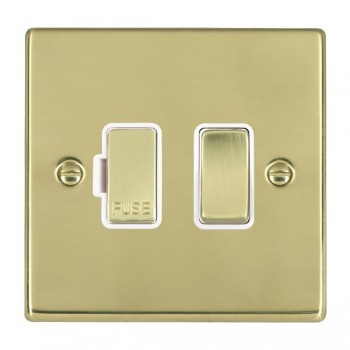 Hamilton Hartland Polished Brass 1 Gang 13A Fused Spur, Double Pole with White Insert