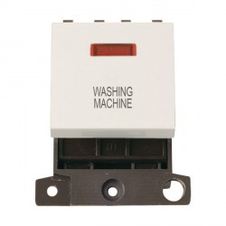 Click Minigrid MD023PWWM 20A DP Twin Width Washing Machine Switch Module with Neon Polar White