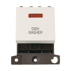 Click Minigrid MD023PWDW 20A DP Twin Width Dishwasher Switch Module with Neon Polar White