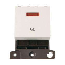 Click Minigrid MD023PWFN 20A DP Twin Width Fan Switch Module with Neon Polar White